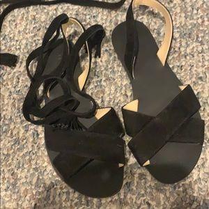 J crew black suede lace up flats size 6